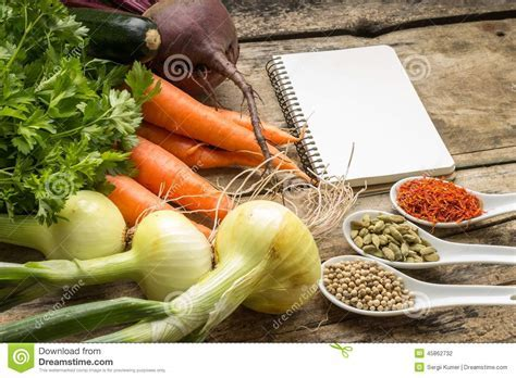 Recipe Background. Fresh Vegetables With Blank Page Of