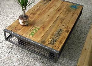 industrial pallet coffee table With photo table basse palette