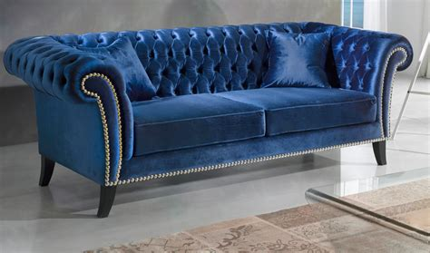 canap chesterfield but chesterfield 3 places en velours bleu eclipse