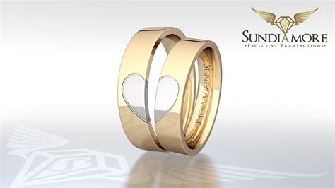 Wedding Rings Heart Symbol White And Yellow 14k Gold