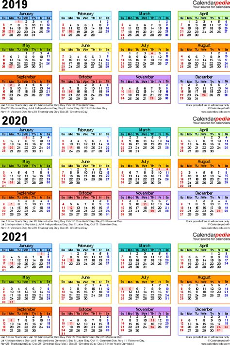 calendar year printable word