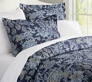 reza palampore duvet cover sham midnight blue With bedding similar to pottery barn