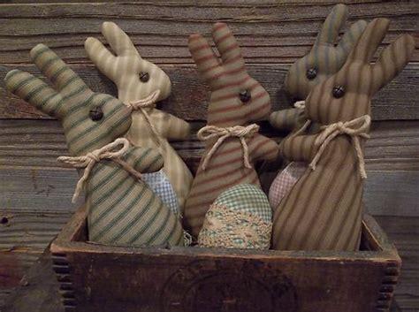 Primitive Handmade Ticking Bunny Bowl Fillers Spring