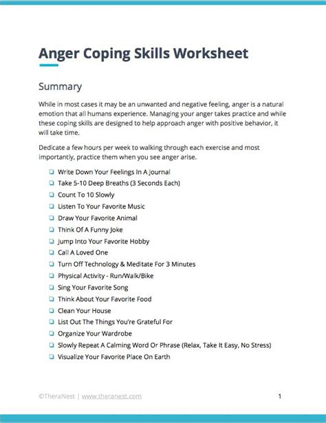 coping skills worksheets techniques  anger management