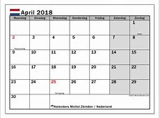 Kalender april 2018, Nederland Michel Zbinden nl