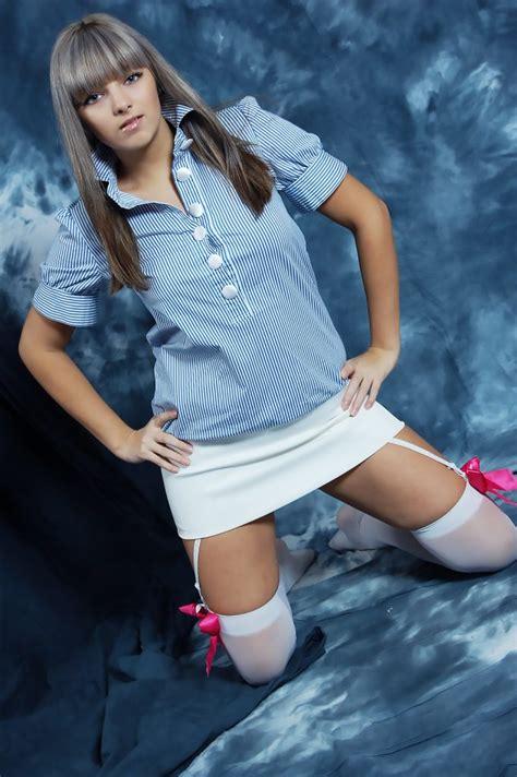 Liza Set 9 White Skirt And White Stockings 57 Pics