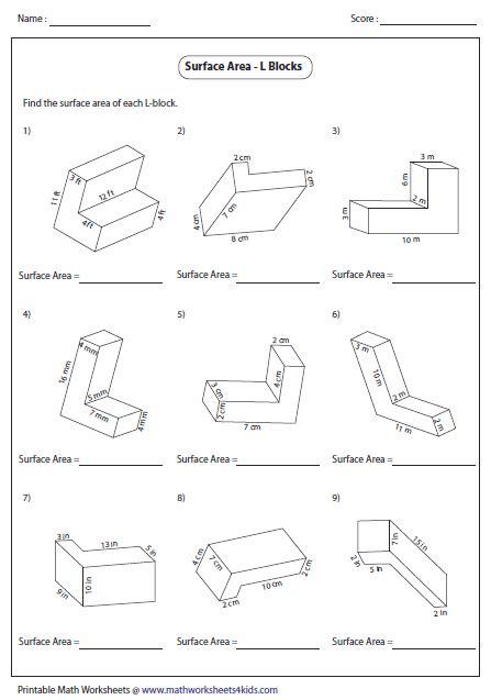 volume of 3d shapes worksheets worksheets for all