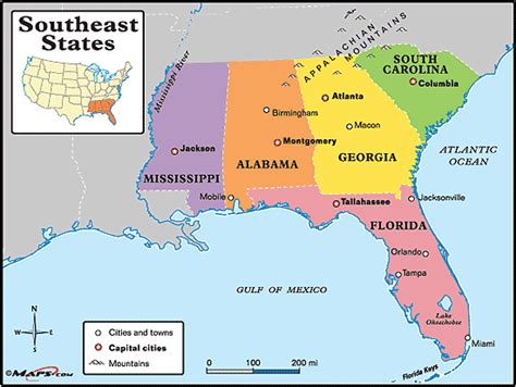 map  southeast usa  capitals  travel information