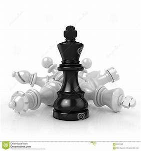Black King Standing Over Fallen White Chess Pieces Stock ...