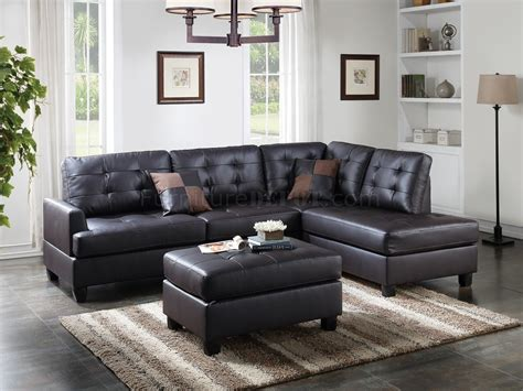 Sectional Sofas With Ottoman f6855 sectional sofa and ottoman set in espresso faux leather