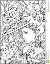 Coloring Witch Halloween Adult Vriendschappelijke Omringd Spoken Heks Wordt Dat Door Printable Adults Circondata Strega Fantasmi Amichevoli Dai Bruxas Fairy sketch template
