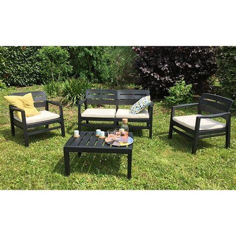 Salon jardin Java canapu00e9 + fauteuils + table basse ru00e9sine anthracite  TRIGANO STORE