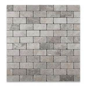 oracle tile silverado gray 2x4 marble tumbled mosaic tile backsplash ideas