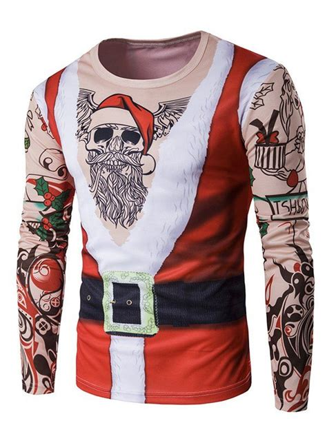 father christmas costume tattoo print long sleeve