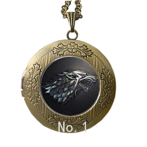 Stark Wolf Necklace Pendant Jewelry Glass Locket Song Of