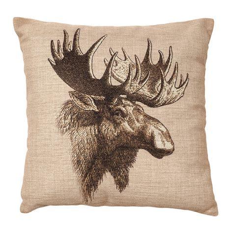 Rustic Bedding: Vintage Moose Burlap Pillow Black Forest Decor