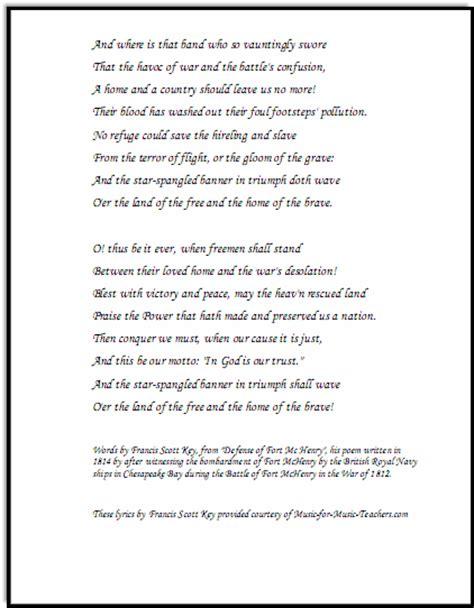 4 page letter lyrics spangled banner free sheet lyrics for all 50114