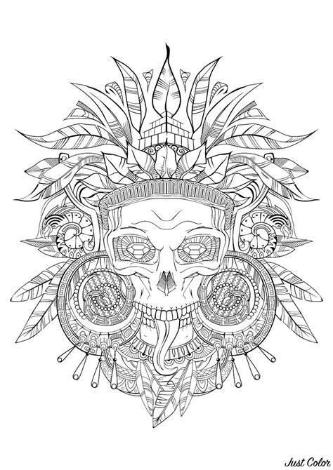 aztec skull black white mayans incas adult coloring pages