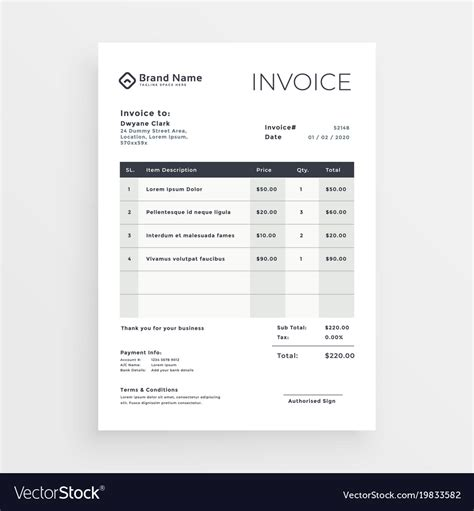 clean minimal invoice template design royalty  vector