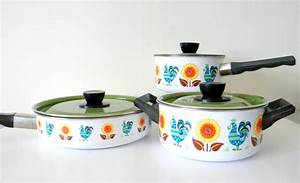 Colorful Vintage Enamelware Cookware Pots and by ...