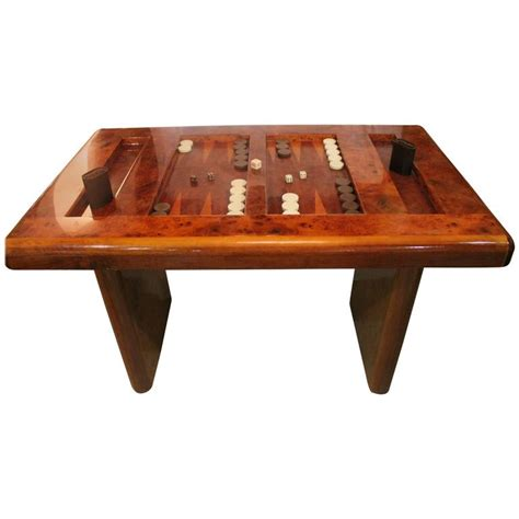 mid century game table mid century modern burl wood backgammon game table at 1stdibs