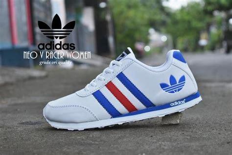 jual sepatu adidas neo v racer grade ori putih biru merah kets sport casual olahraga