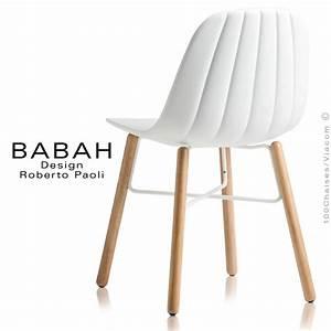 Chaise Blanche Plastique : chaise design babah wood pieds bois naturel assise coque plastique dossier fantaisie ~ Teatrodelosmanantiales.com Idées de Décoration