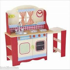 Elc Wooden Cottage Kitchen Red Rrp £150**brand New
