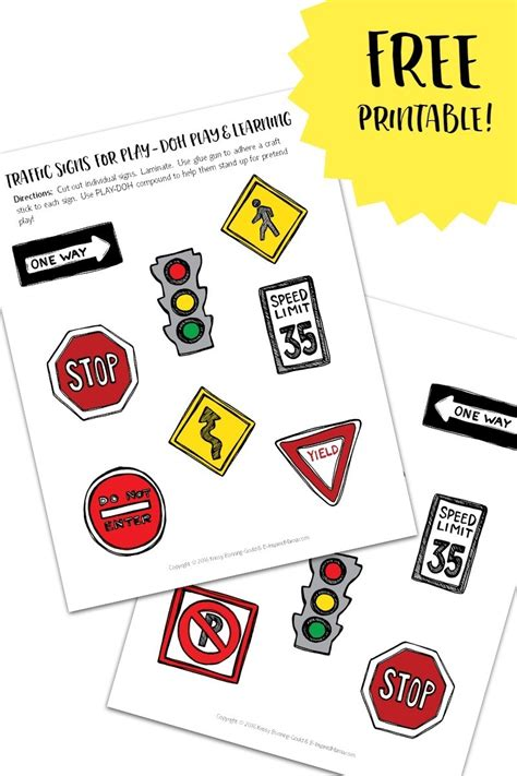 printable traffic signs for play amp learning 913 | Free 20Printable 20Traffic 20Signs 20for 20Play 20and 20Learning 20 20with 20PLAY DOH 20Town 20Playsets