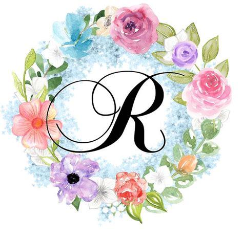 watercolor floral wreath monogram letter  sticker  grafixmom   floral wreath