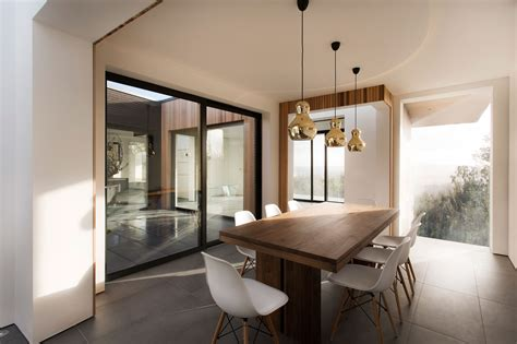 dining table patio doors gold pendant lights modern
