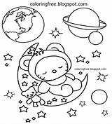 Space Coloring Planet Earth Printable Solar Moon System Simple Drawing Clipart Spaceman Planets Colouring Sheet Landing Colour Cartoon Children Rocky sketch template
