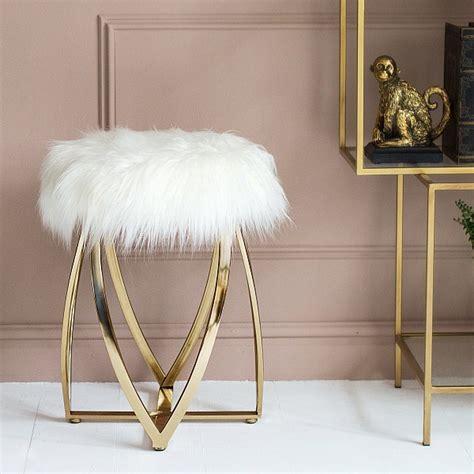 white faux fur stool faux fur gold stool audenza 1297