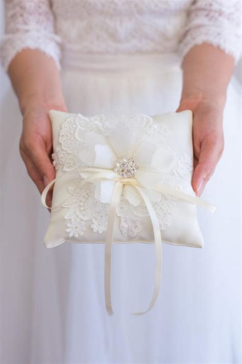 items similar to handmade wedding ring bearer pillow white ivory lace ring pillow wedding