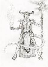 Tiefling Warlock Coloring Sketch Female Deviantart Template Steal Colouring sketch template