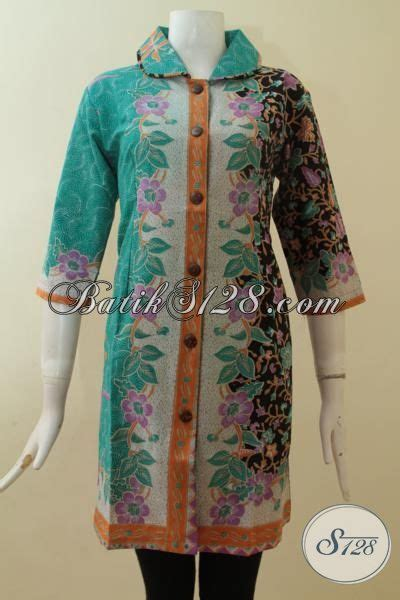 dress batik wanita elegan  lengan  warna hijau