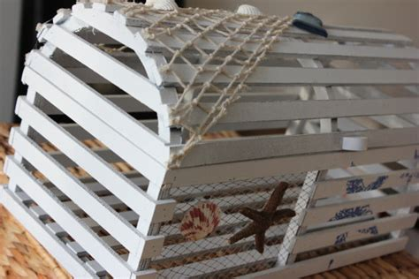 Decorative Wooden Lobster Trap by Lobster Trap Cardbox Card Box Holder White By