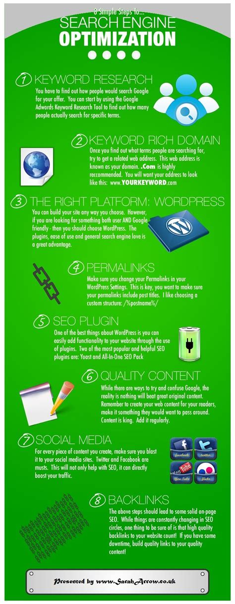 seo search engine optimization step by step 8 simple steps to search engine optimization infographic