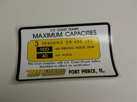 Pathfinder Boats Decals by Capacity Plate Pathfinder