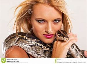 Woman Pet Python Stock Image - Image: 28775001