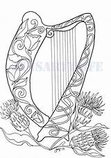 Harp Pages Coloring Celtic Colouring Irish Printable Flowers Embroidery Fairy Patterns Craft Sheets Harps Adult Pattern Zentangle Hearts Mosaic Techniques sketch template