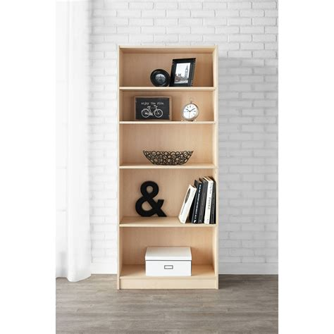 5 Shelf Adjustable Wide Wood Bookcase Storage Bookshelf