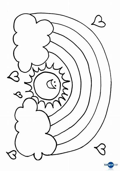 Sun Rainbow Rainbows Colouring Craft Coloring Pages