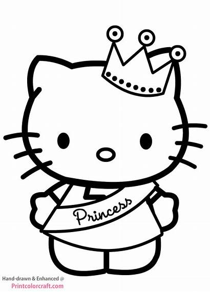 Kitty Hello Coloring Pages Princess Crown Printable