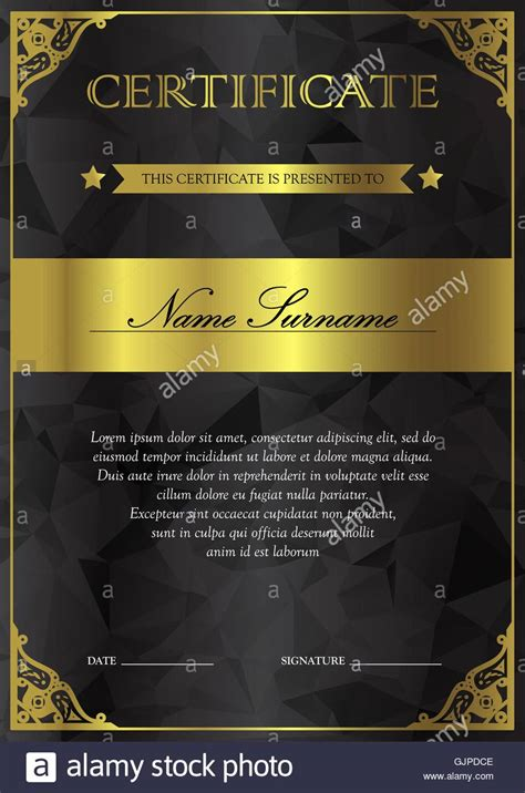 vertical black  gold certificate  diploma template