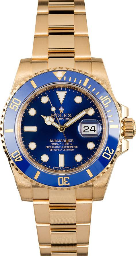 Rolex 18K Gold Submariner 116618 Blue