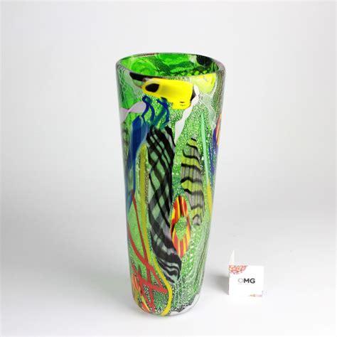 vaso murano vaso con murrina verde vetro di murano originale omg