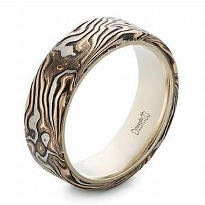 custom men39s rose gold and mokume wedding band 102419 With custom mens wedding rings