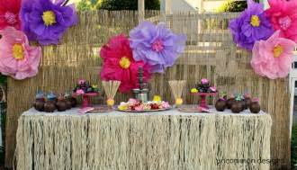 dried hibiscus flowers luau party decor tablescapes food displays