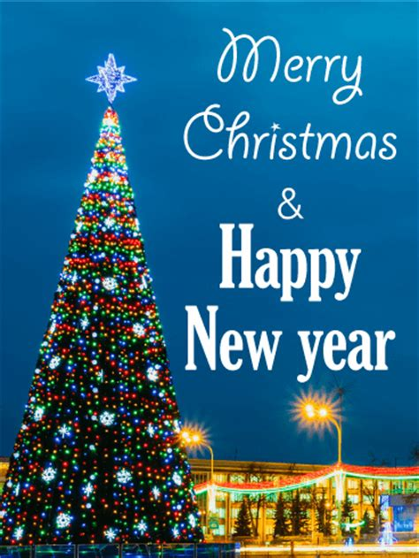 colorful lights christmas tree card birthday greeting